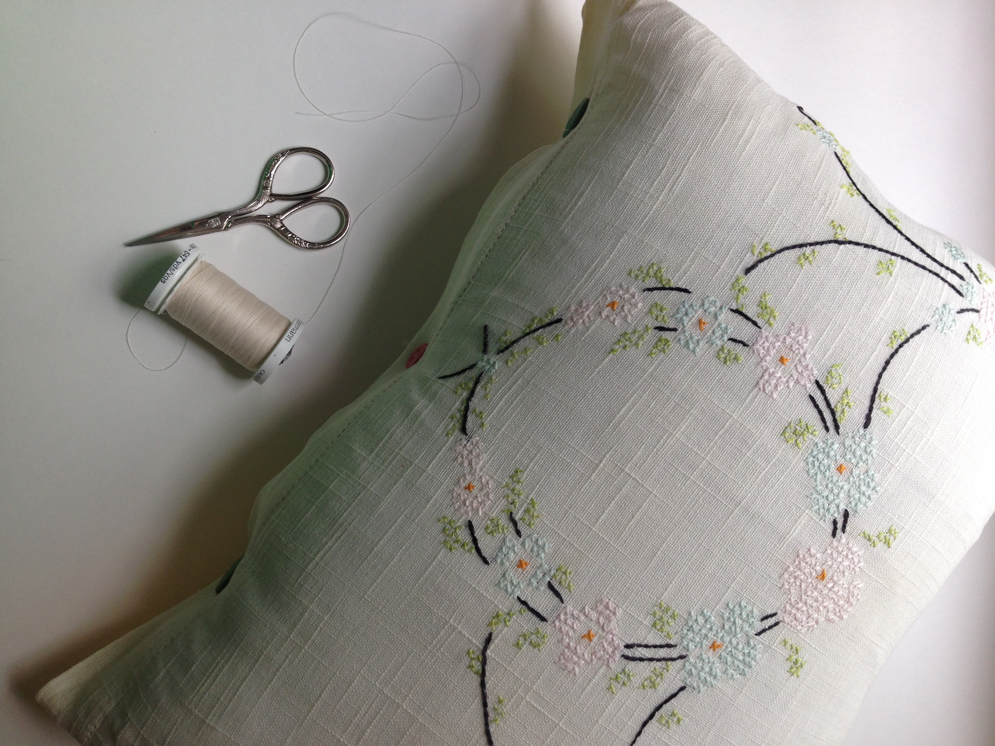 Vintage Embroidery Pillowcase by Ms. Cleaver