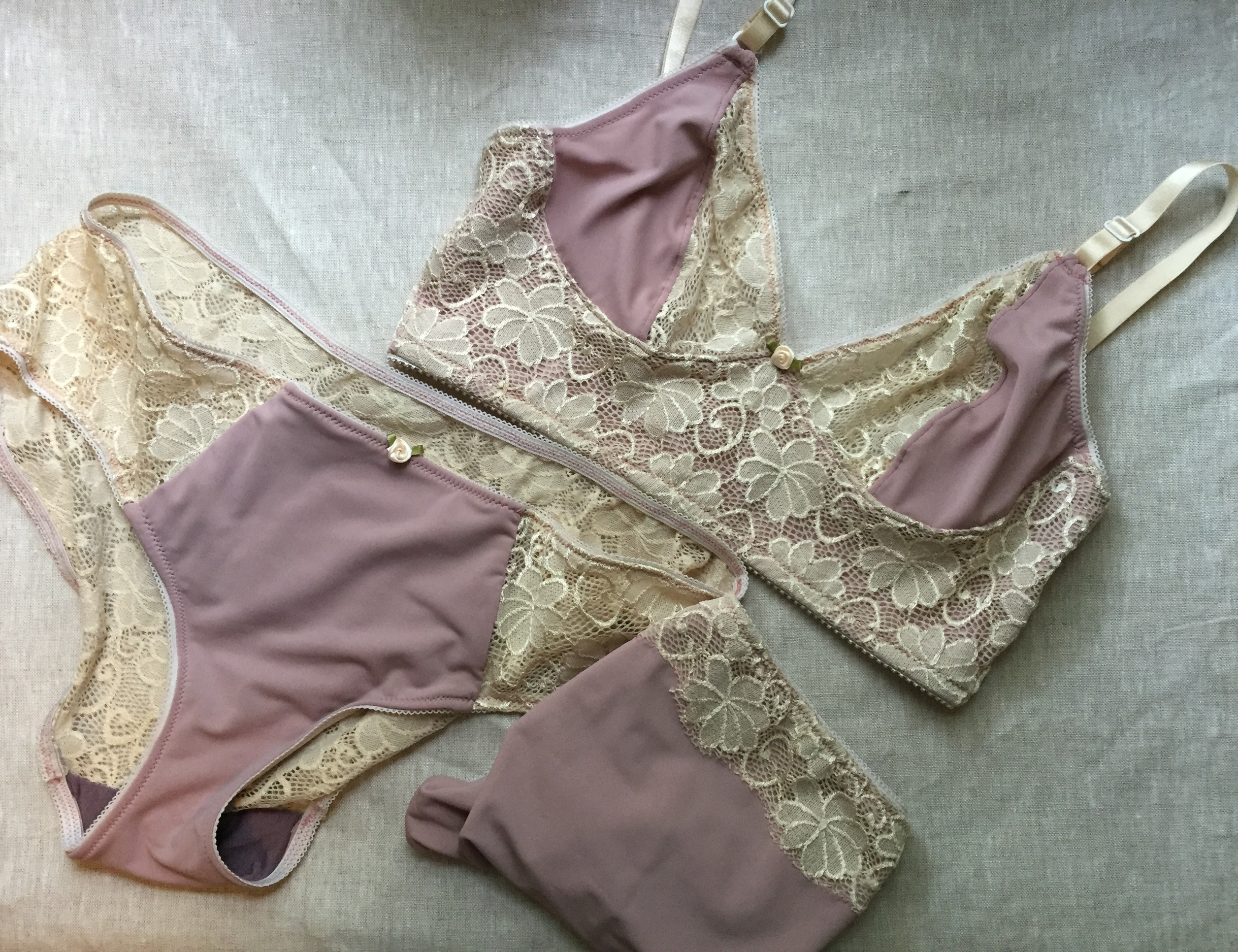 Mauve and Lace Watson Bra and  Undies Sewn by Ms. Cleaver