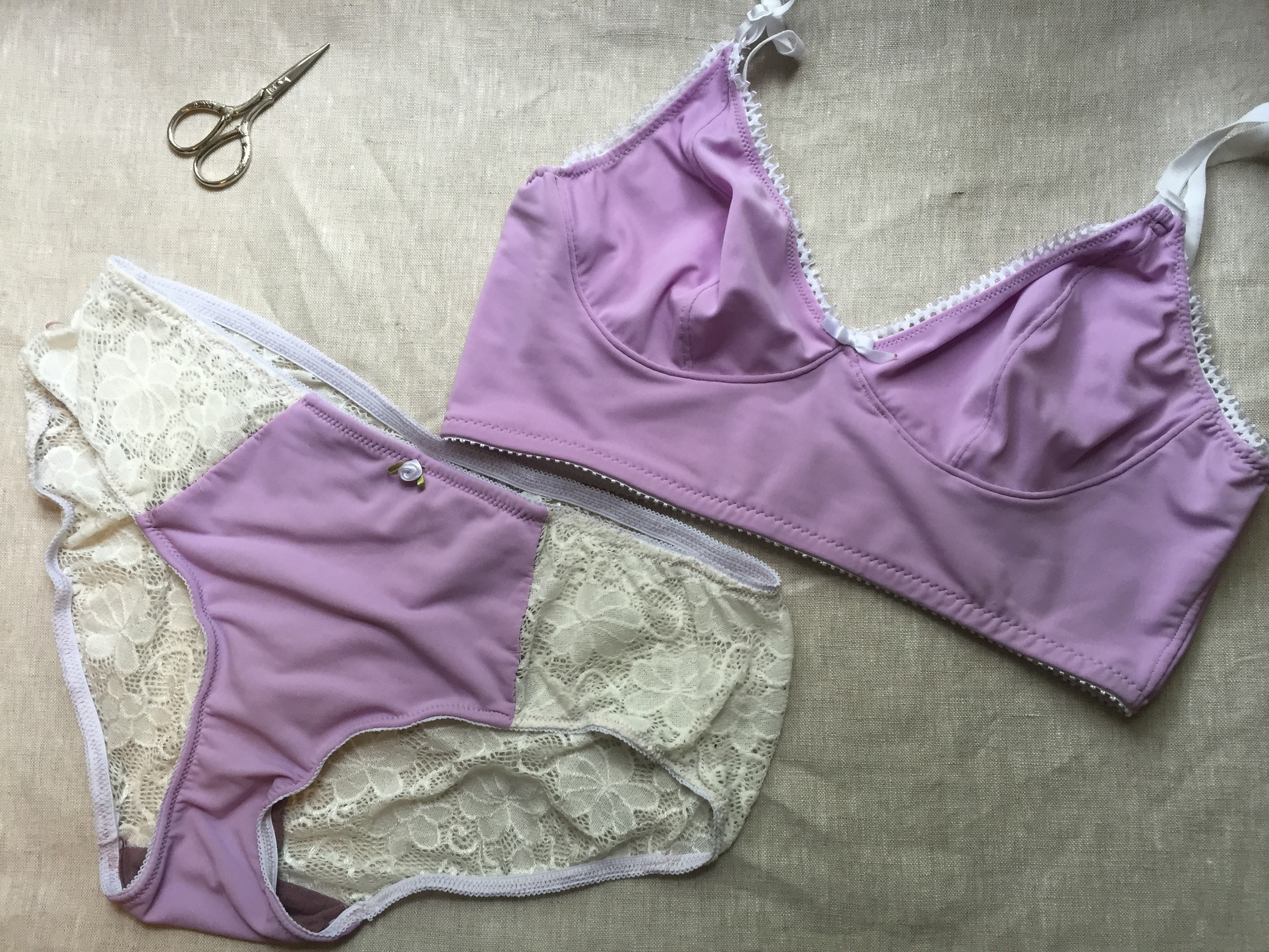 Lilac Watson Bra and Undies Sewn by Ms. Cleaver