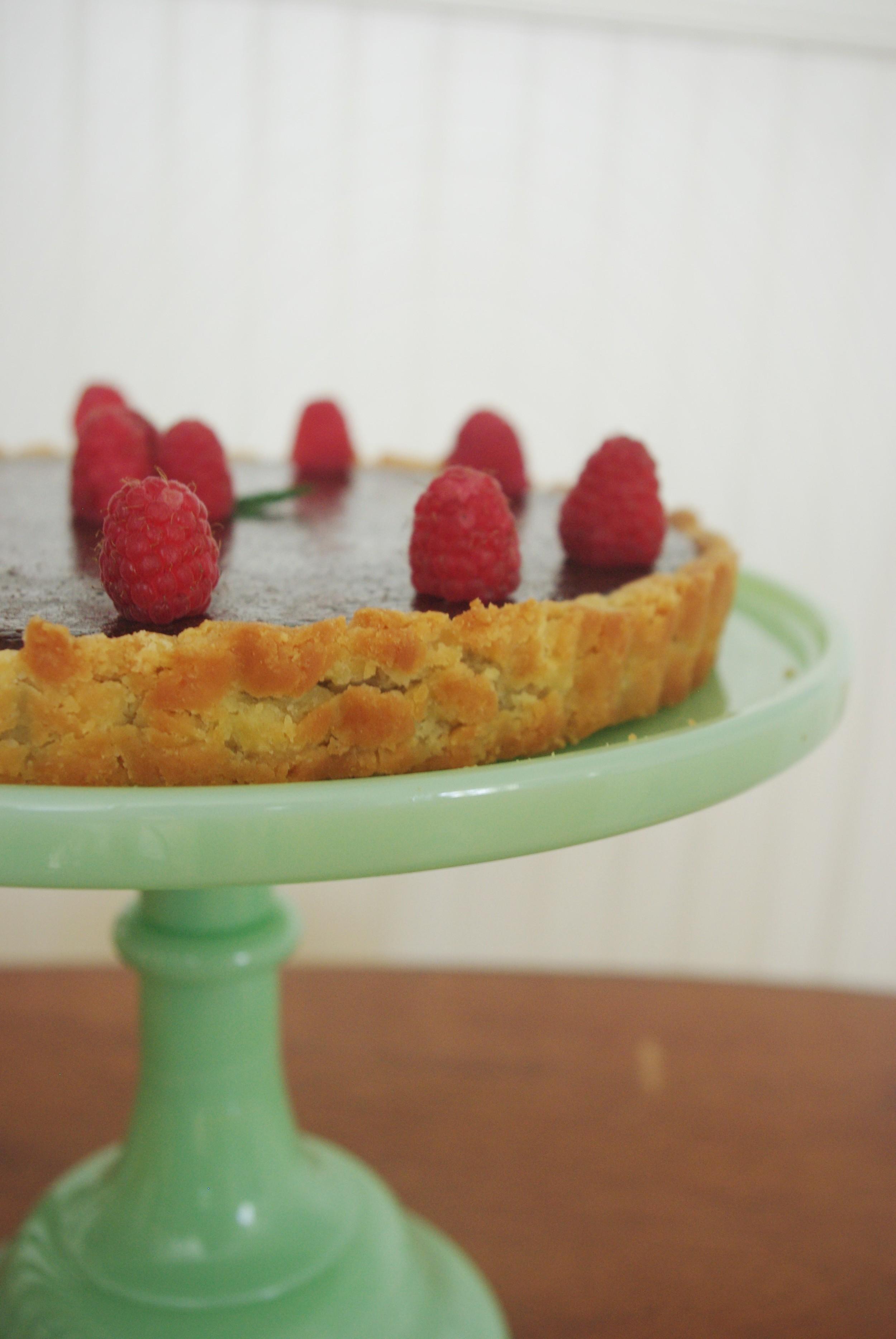 Chocolate Raspberry Tart with Shortbread Crust