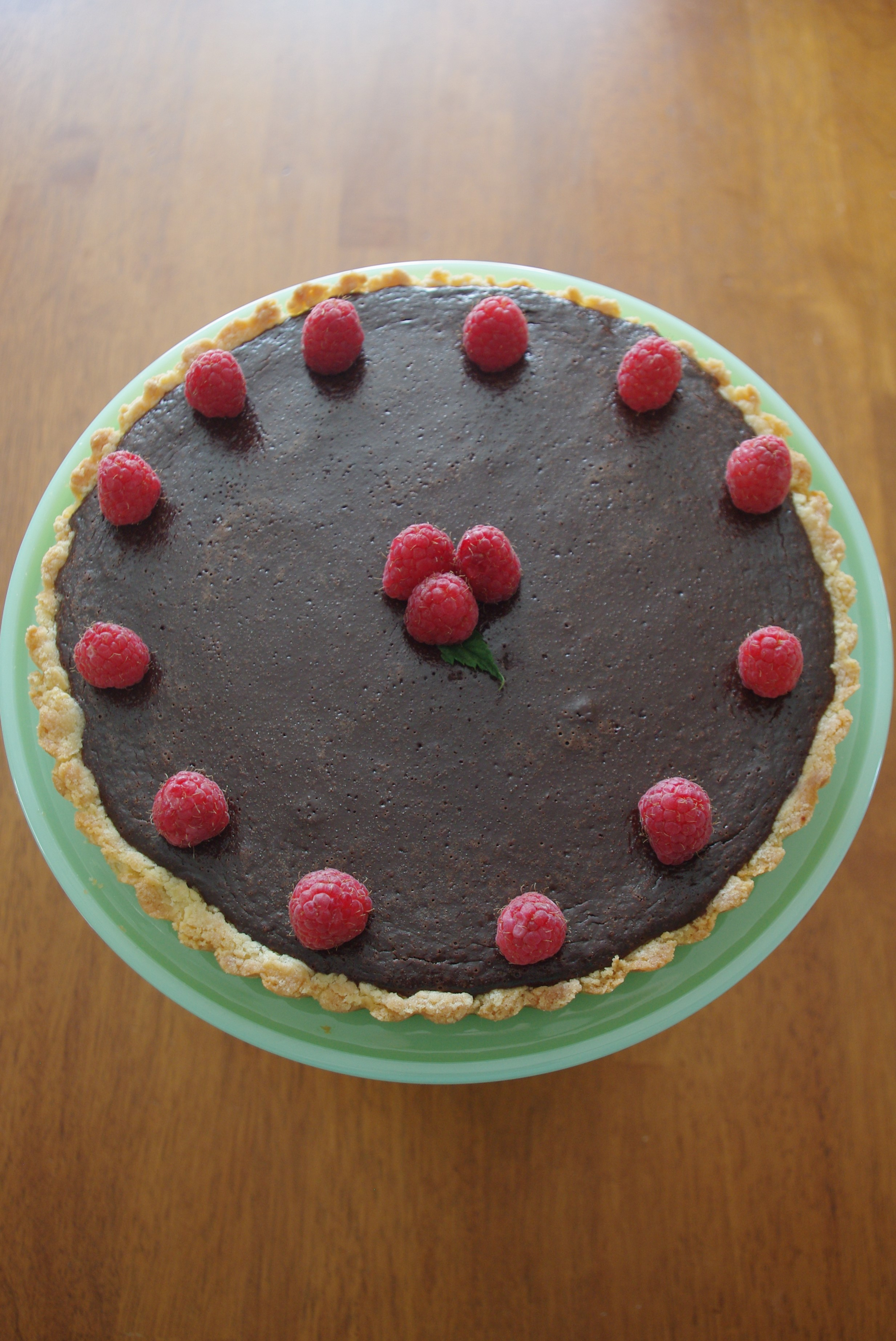 Chocolate Raspberry Tart with Shortbread Crust