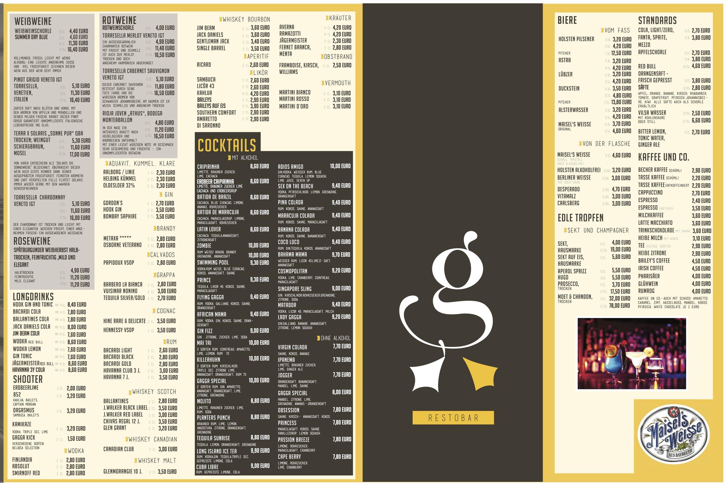 Unsere neue Getränke- und Cocktailkarte zum Download