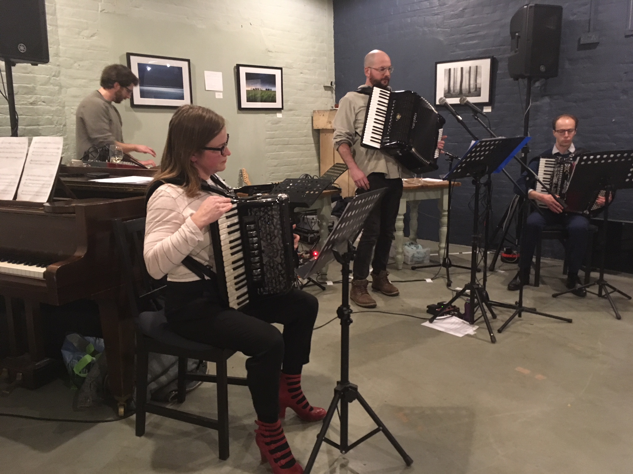 My first public performance on Accordion in Aidan Shepherd's 'Free Range' (for synth and three accordions).