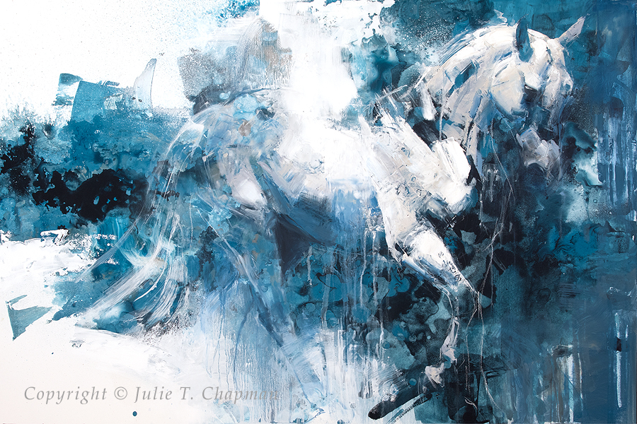 """""""Rhapsody in Blue Two"""", 20x30 mixed media on cradled panel - $5400"""