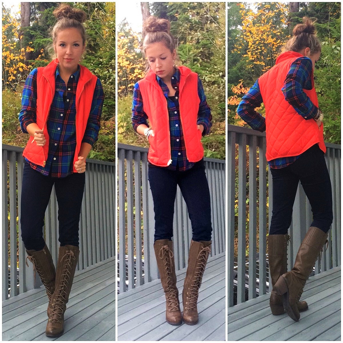 Cold weather bright flannel, vest and boots : Outfit inspiration