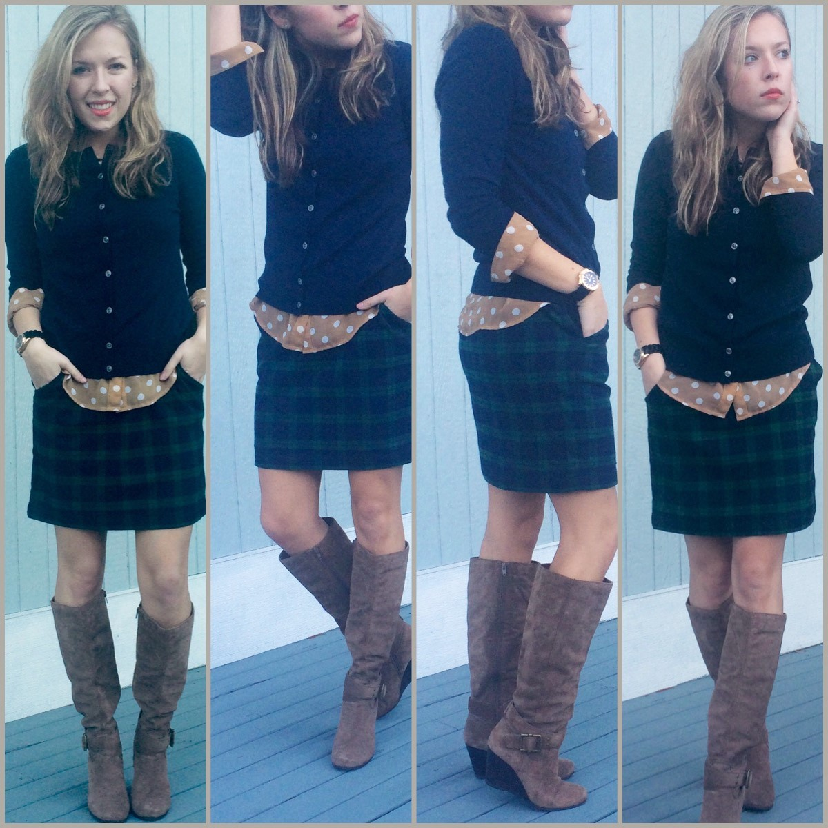 Polka dots and plaid winter look- Old Navy skirt and blouse, Ann Taylor cardigan and BCBG boots