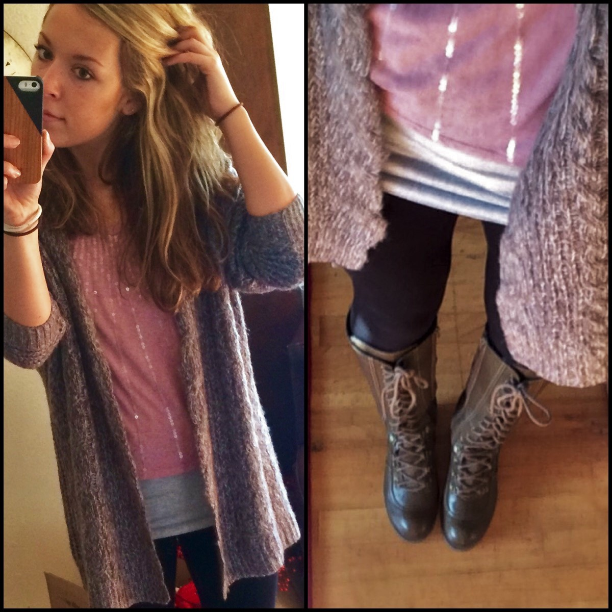 Pastel casual work look- Forever 21 leggings, Wet Seal tank, Target shirt, Unknown grey sweater, TJ Maxx boots