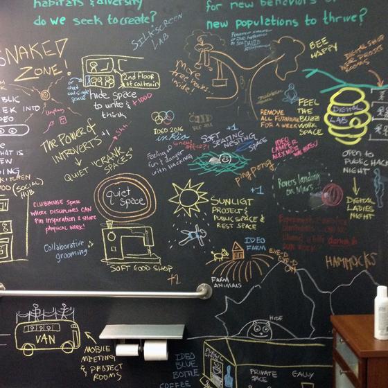 IDEO's bathroom wall
