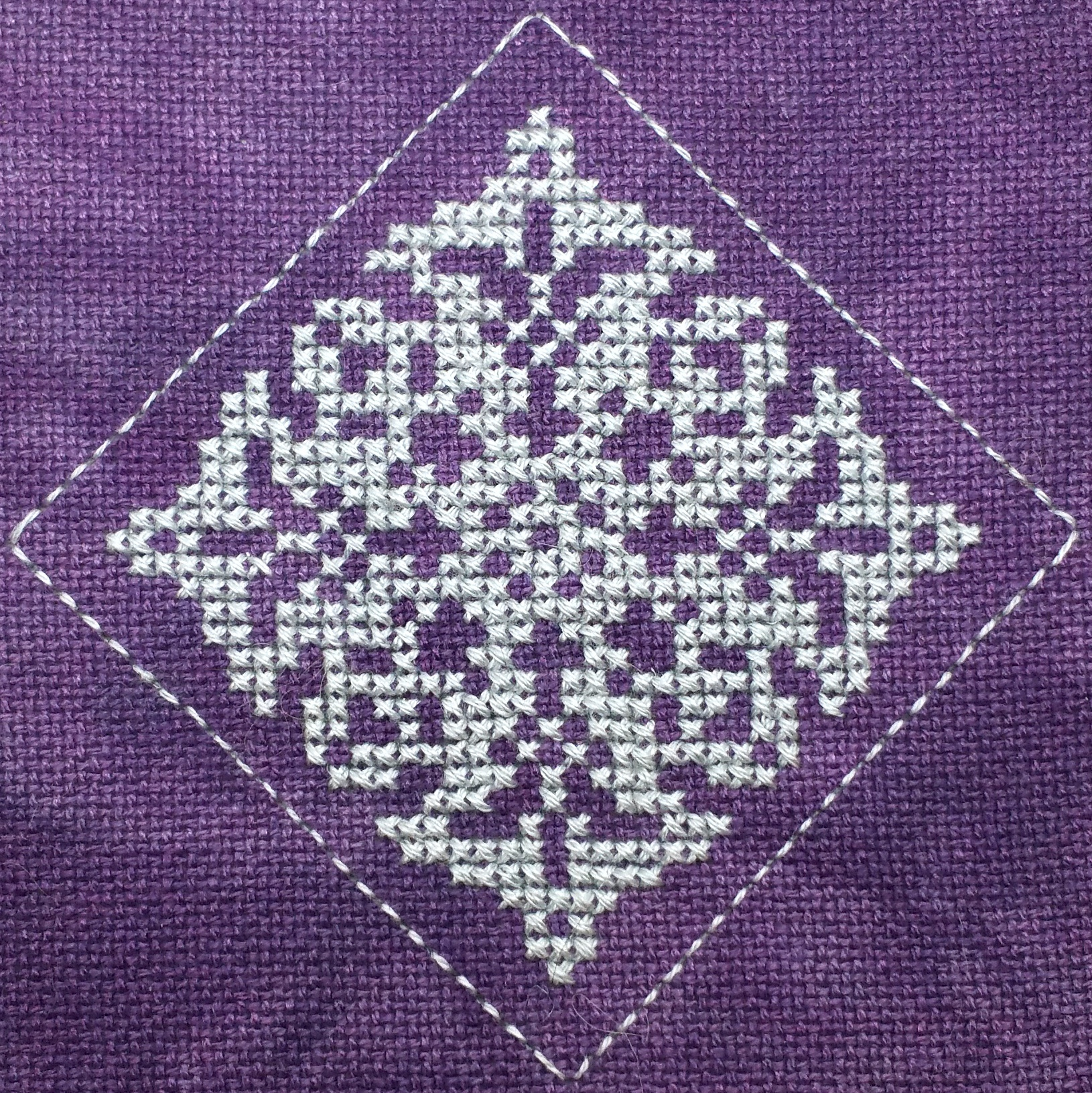 Silver Jewel stitched with back-stitch outline