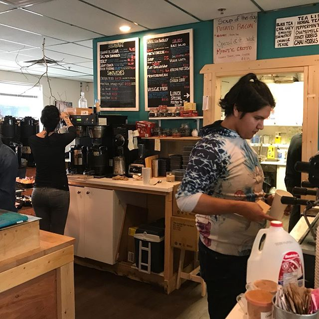 """Excellent double espresso, """"Bannock & Egger"""" and morning chat at the indigenous-owned and run @Birchwoodcoffeeko — """"ko"""" is@Dogrib for """"house"""" — in Yellowknife, NT. Neighbour's question to new #dechinta boss is, of course, """"And what do I do if a bear comes?"""" (Serious question for a nurse practitioner and young mom and infant working with an indigenous land-based education program ...)"""