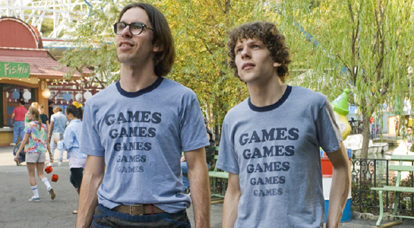 """Adventureland"" (2009)  This ""Games"" t-shirt could be a shirt from a person who is really enthusiastic about playing games, or it could be the shirt of a college graduate with a 'nowhere job' at a local amusement park played by Jesse Eisenberg."