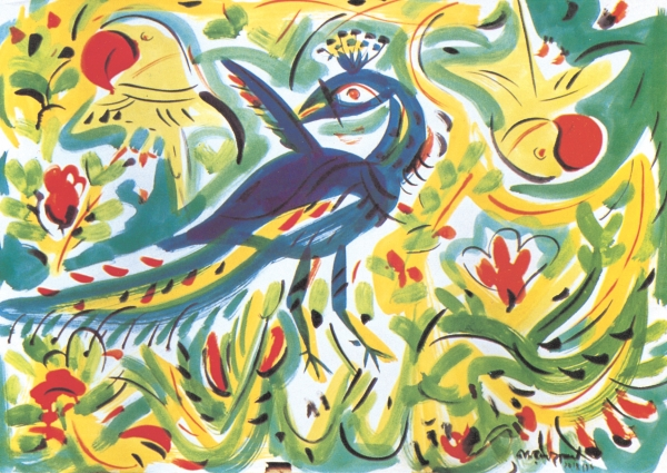 Quamrul Hassan, Peacock and Parrot, 1976. image courtesy: Depart