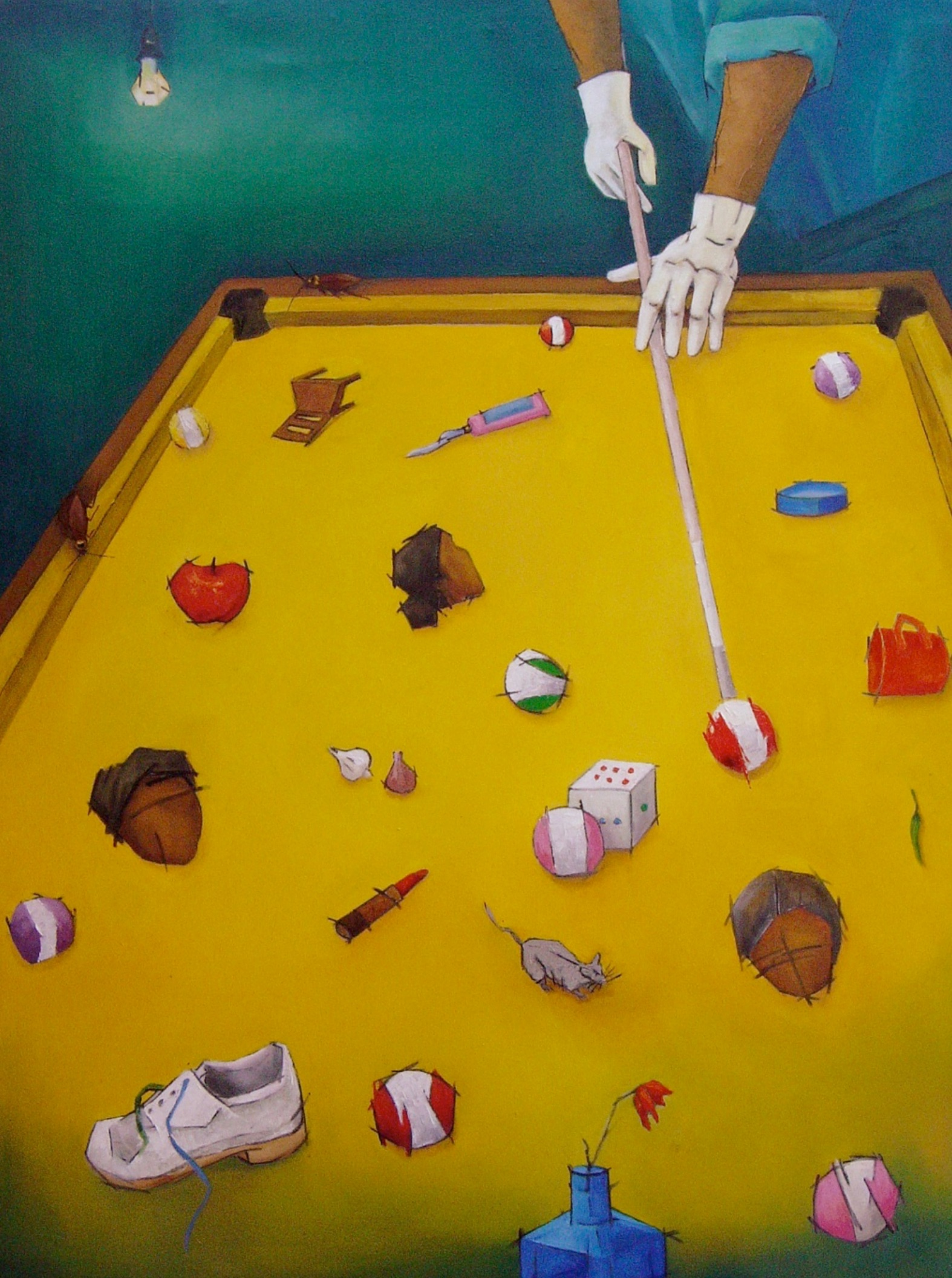 My Time-5   This painting mirrors our present day situation where we find ourselves nothing more than balls in a snooker table. There are behind-the-scenes players who set the board and they are too powerful to detect or deter. We are part of this huge game they are playing at their whims. I have painted the snooker table in yellow to suggest the dismal face of our present age. This patch of yellow is surrounded by a mysterious twilight zone.