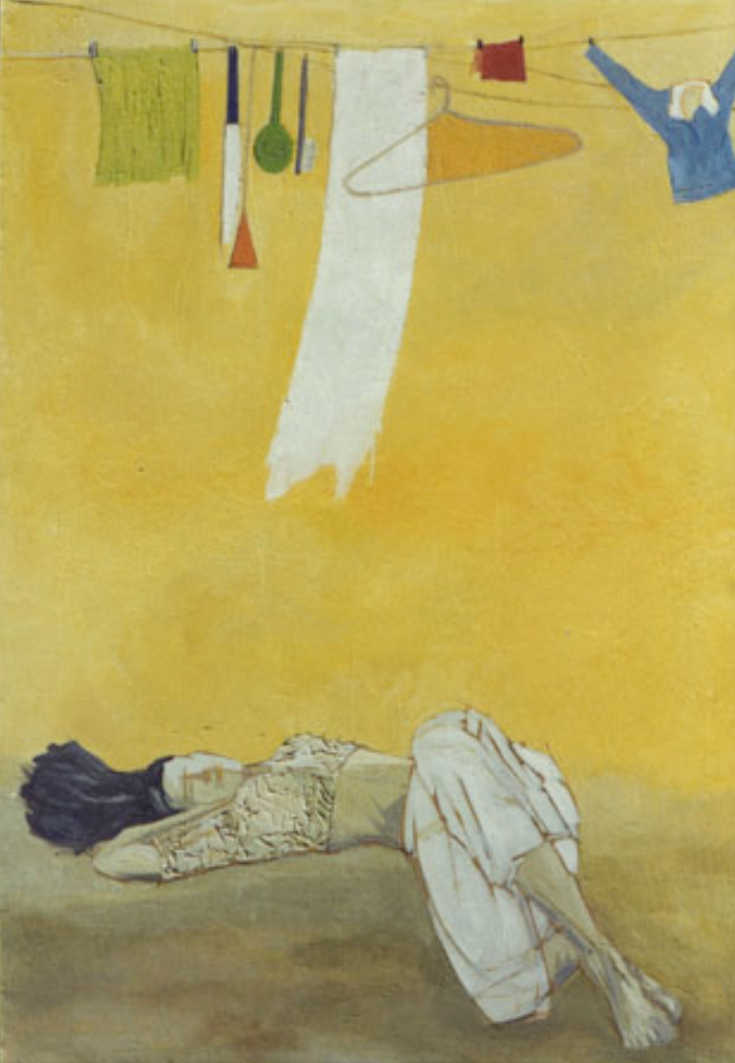 Fraction-12   This mix-media painting is dominated by a yellow color that is used to symbolize the withered time. In this painting, there is a weary girl in a reclining position. Above this figure are clothes, hangers, knives, brushes, spades, spoons, etc. suspended from horizontal ropes. A parallel could be drawn between the suspended utensils and the social status of the woman figure below. She is rather treated as an inanimate object in our society and the legacy of this outlook still carries.