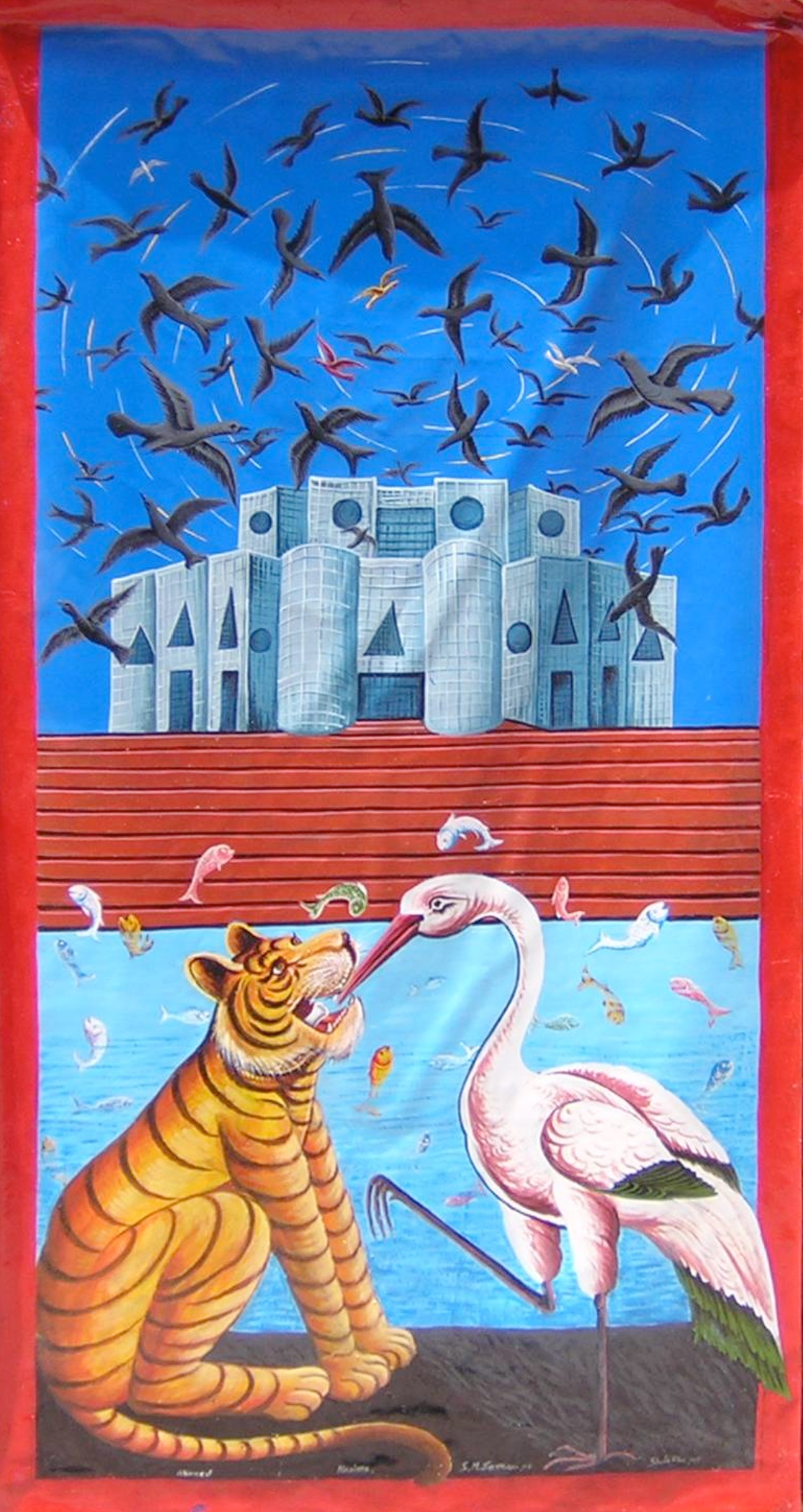 A Millionaire Crow   This painting is a blend of political satire and folk tales. Painted in rikshaw-painting style it shows a flock of crows flying in circles above the roofs of the National Assembly building. This ominous incident suggests the mayhem that currently is ruling over the realpolitik. In the painting, there is a brisk business of fisheries going on in full swing on the lakes of the assembly premise. In the bank of the lake, there is the famous display of deception being performed by the two characters (i.e. the tiger and the crane) of a famous folk tale. The tale reminds us of the deceits of the disdainful political leaders.