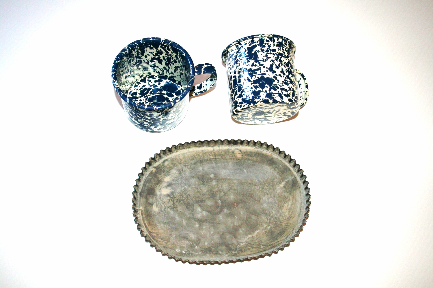 Enamel Cups and Vintage Tray