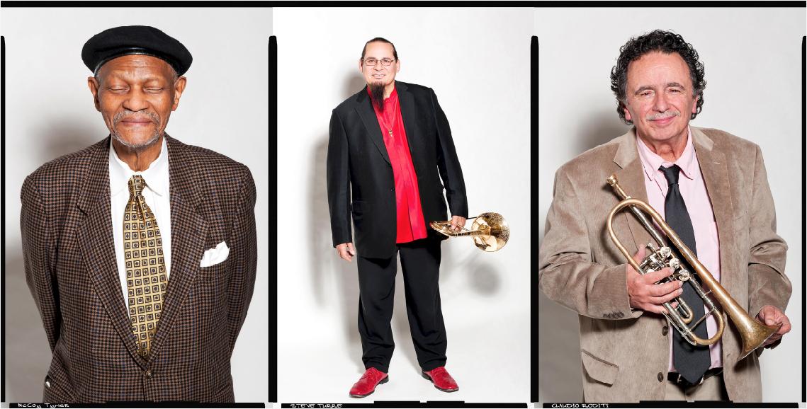 l-r: 2014 Jazz Master Honoree McCoy Tyner, Steve Turre, Claudio Roditi