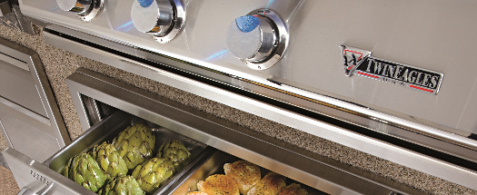 godbyhearthandhome twin eagles buil-in buil in gas grill with warming drawer and storage