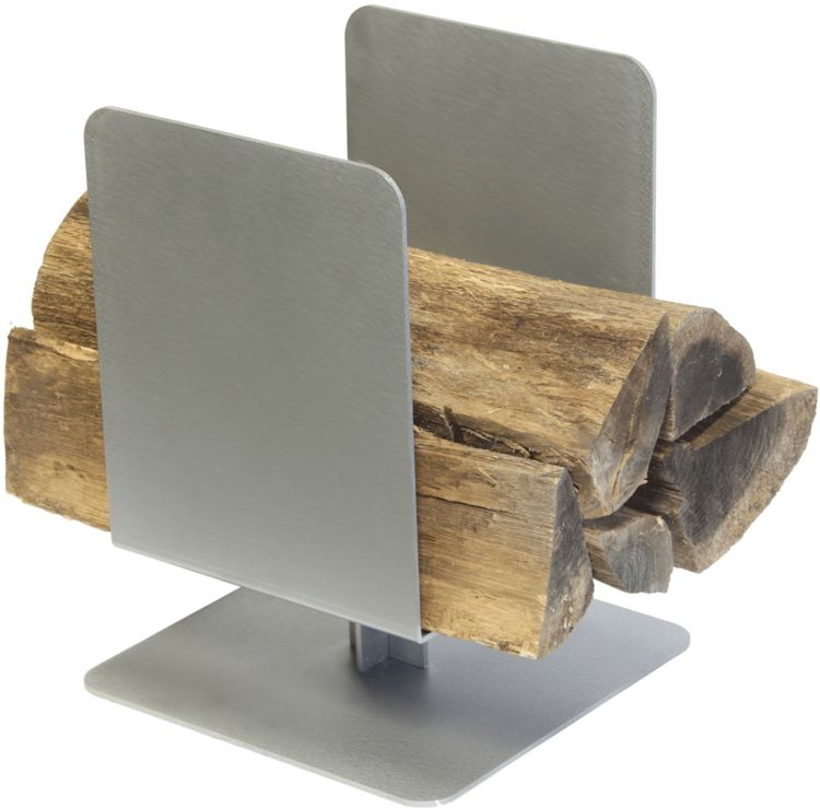 Contemporary Stainless Steel Wood Holder
