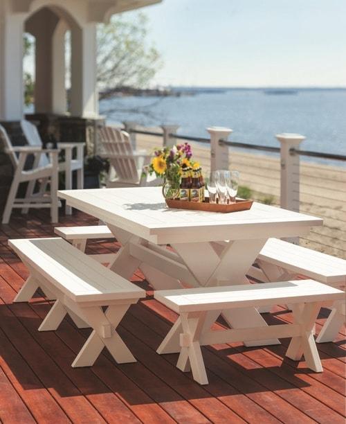 Sonoma 36in Dining Bench in White