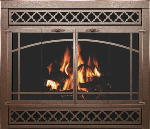 Zero Clearance Collection: Reface (Traditional) with 1518 Louvers with Brushed Copper Trim & Arched Window Pane