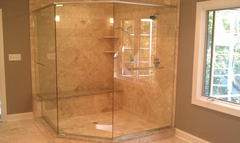 3/8'' Frameless Clear Glass Pivot Door w/ Neo Angle Panels
