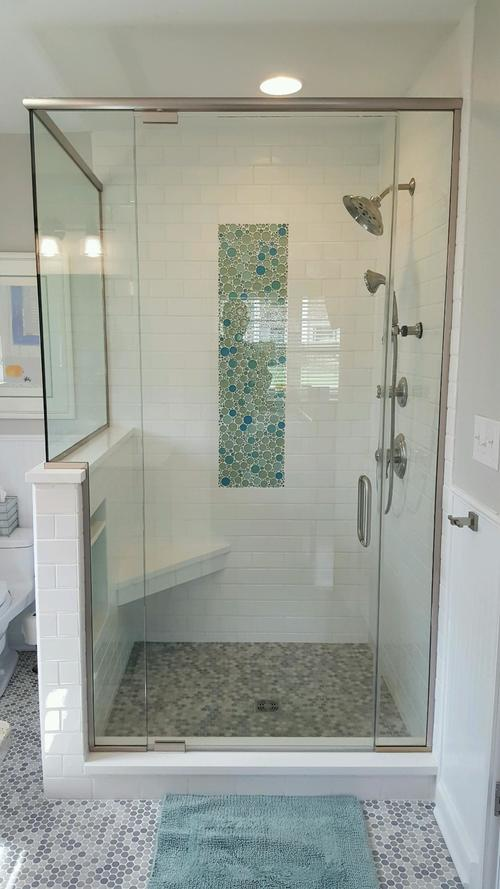 3/8'' Frameless Clear Glass Pivot Door w/ Inline & Buttress Return Panels