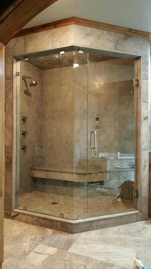 3/8'' Frameless Clear Glass Hinge Door w/ Neo Angle Full Panels w/ Clamp System