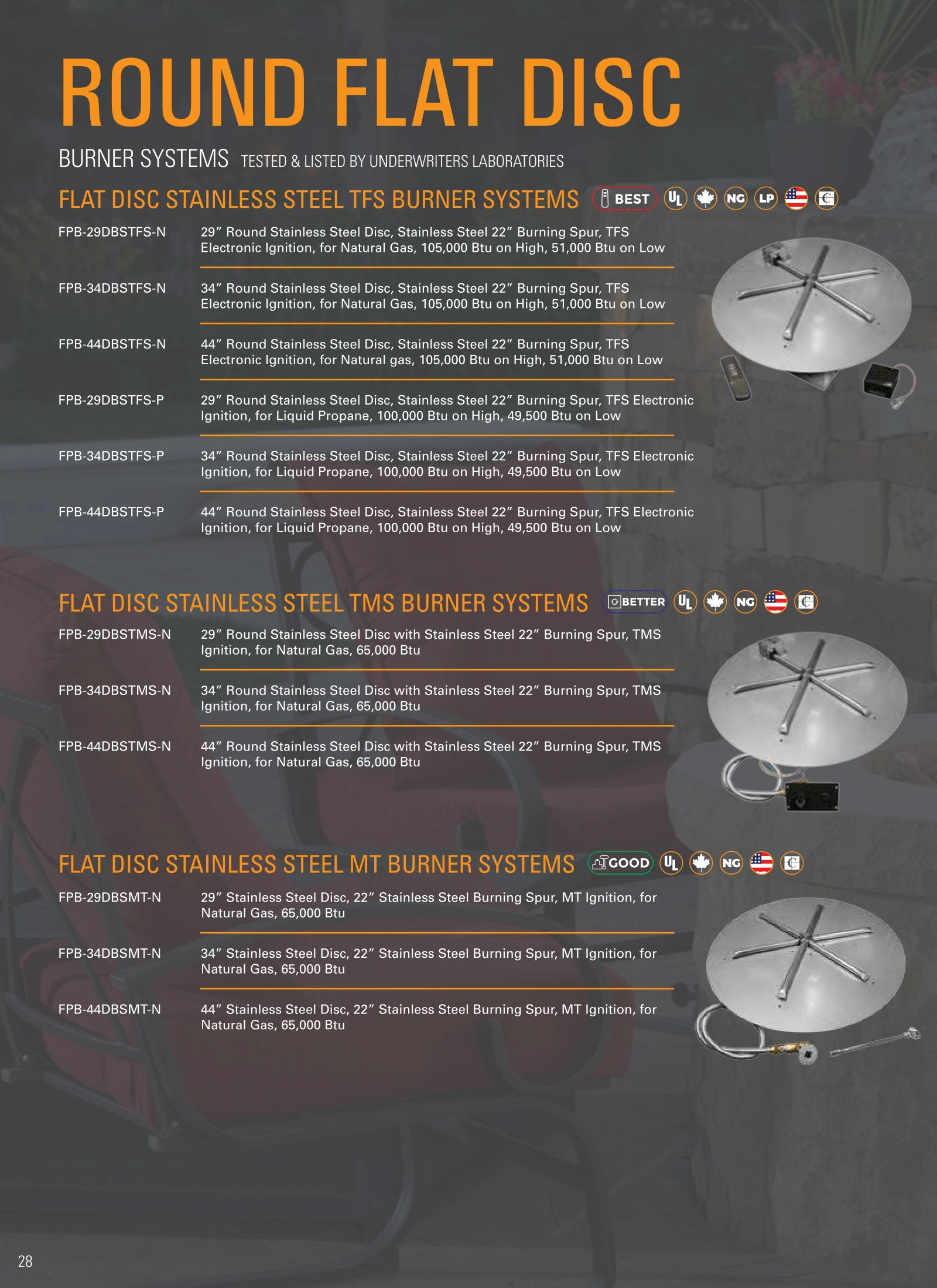 fire gear round flat disc burner technologies sizes and details