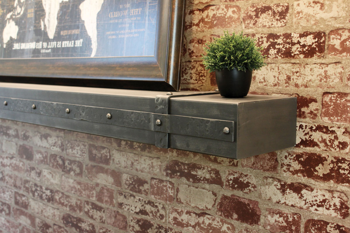 Metal Shelf with Decorative Banding