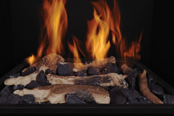 Charred Oak Clay Logs with Black Embers