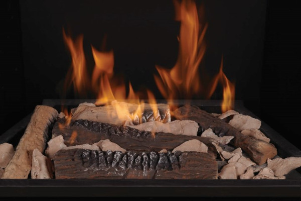 Split Oak Ceramic Fiber Logs with Beige Embers