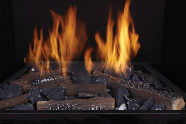 Split Oak Ceramic Fiber Logs with Black Embers