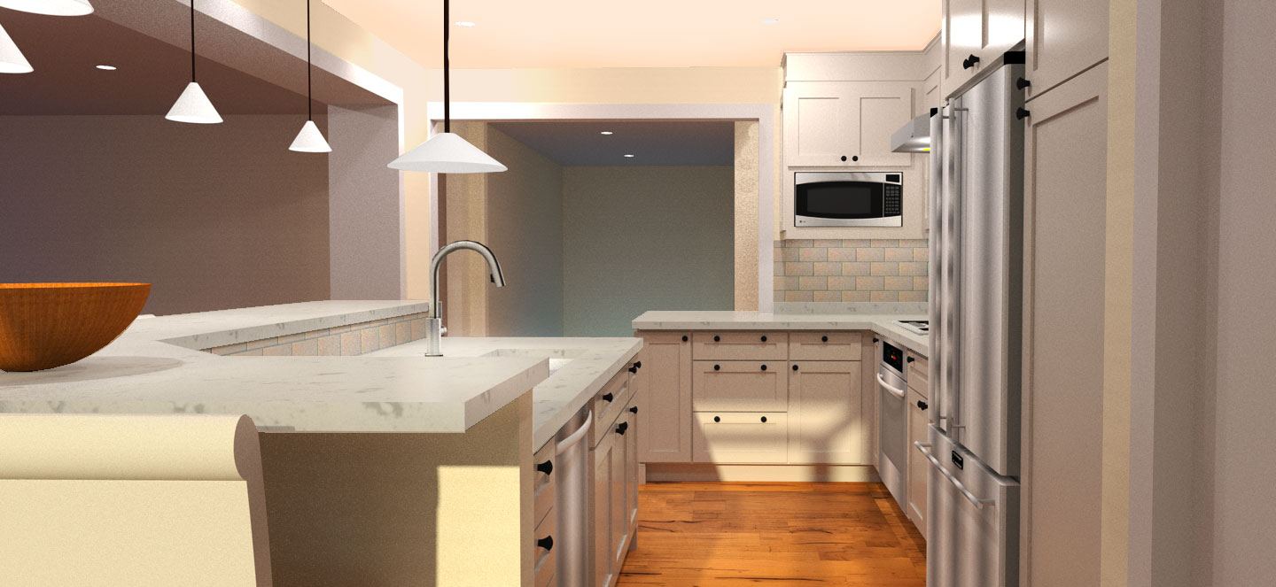 A rendering of a kitchen project