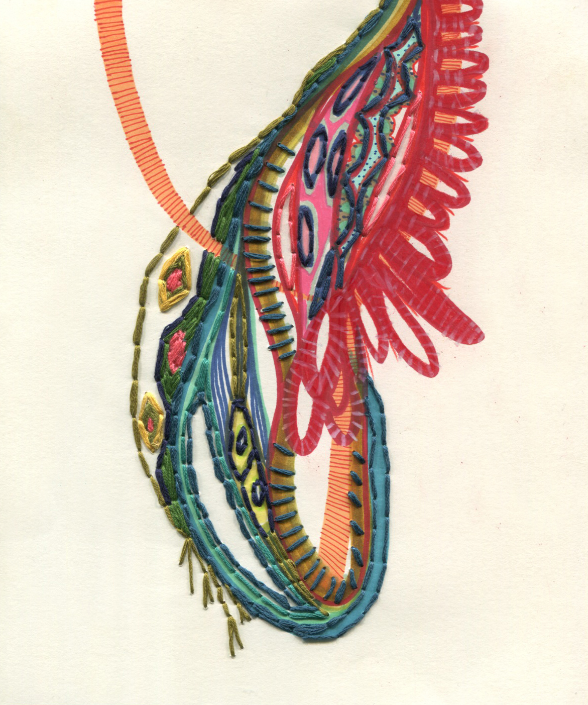 "Pendant   Ink, thread on paper  8' x 10""  2014"