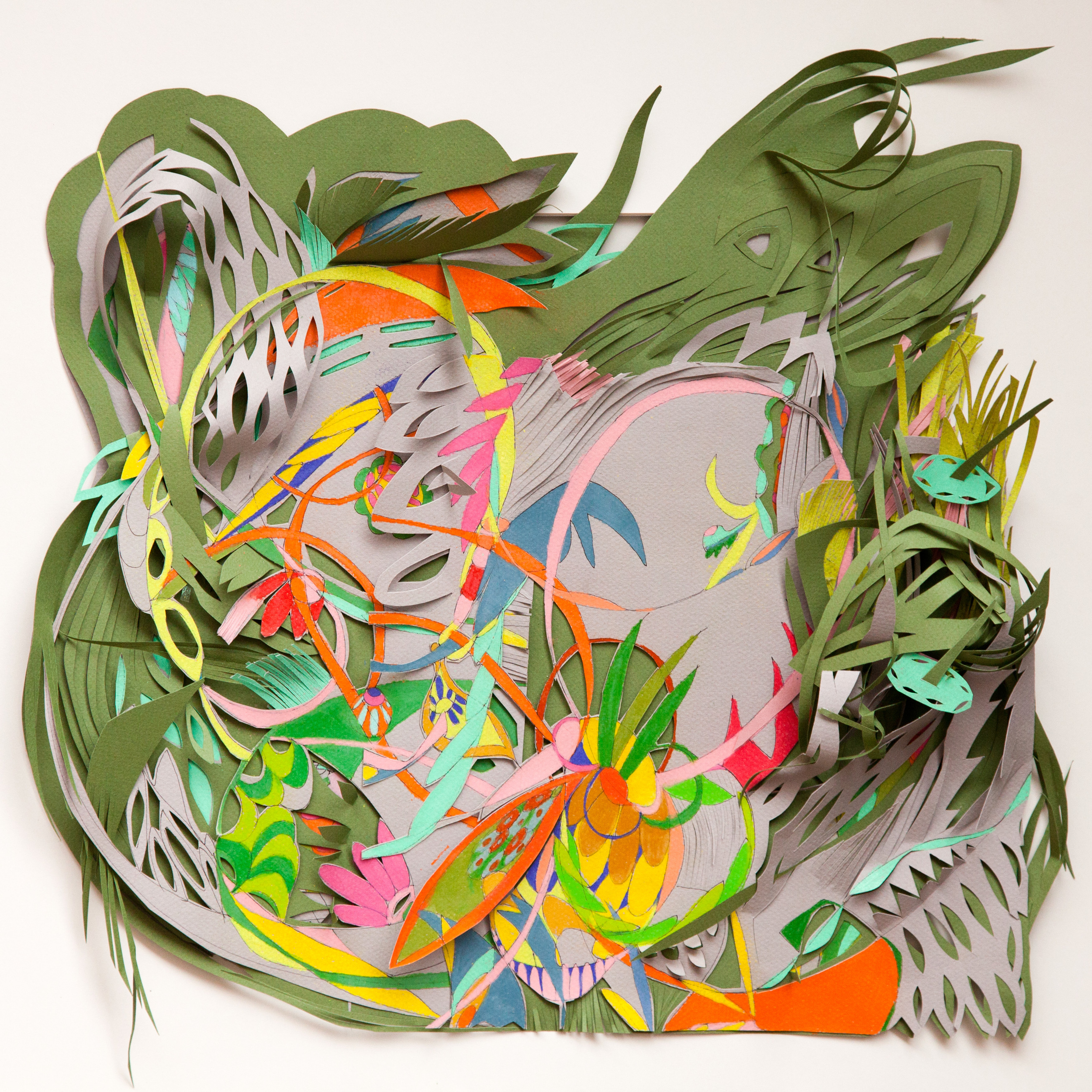 "Alive   Colored pencil, cut-out  14"" x 16""  2012"