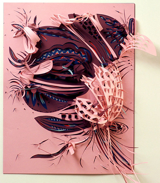 "Pink Rosa   Paper cut-out  19"" x 27""  2008"
