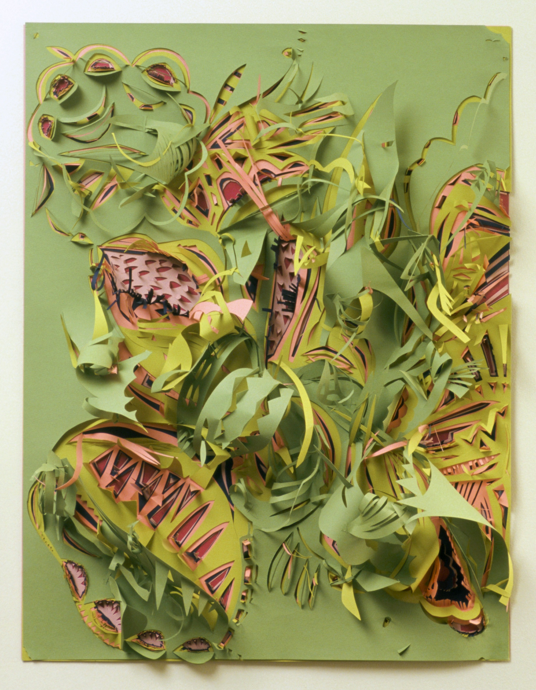 "Green Burst   Paper cut-out  19"" x 29""  2008"