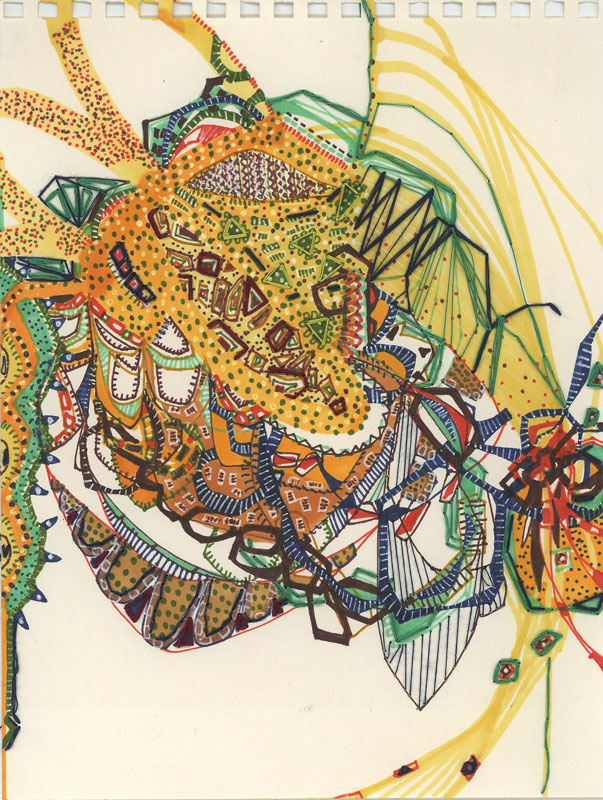 "Amarelada   Marker and embroidery on paper  6"" x 9""  2007"