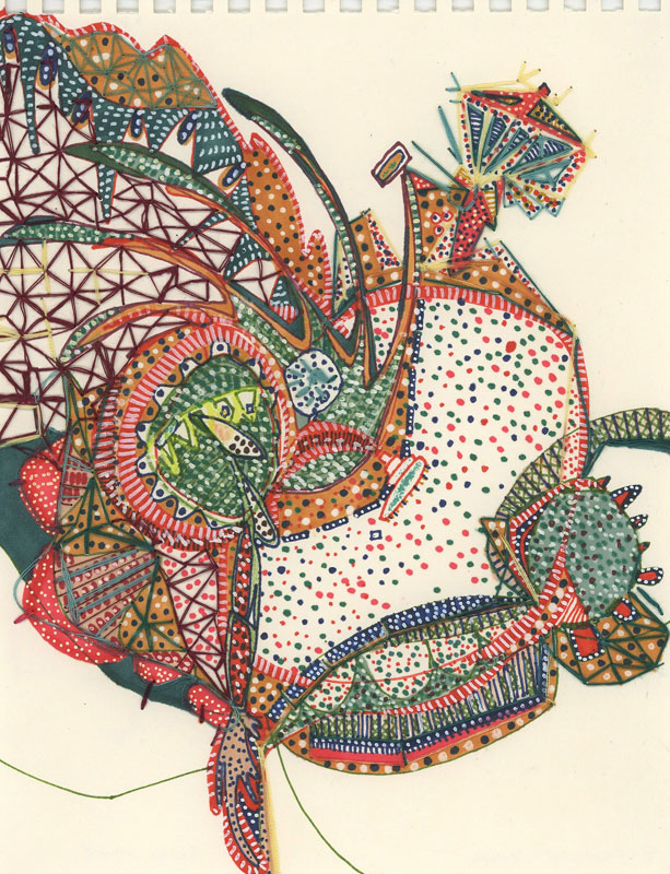 "Verde e Rosa   Marker and embroidery on paper  6"" x 9""  2007"