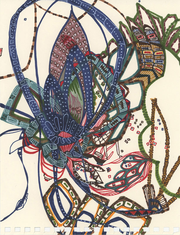 "City Plant   Marker on paper  6"" x 9""  2007"