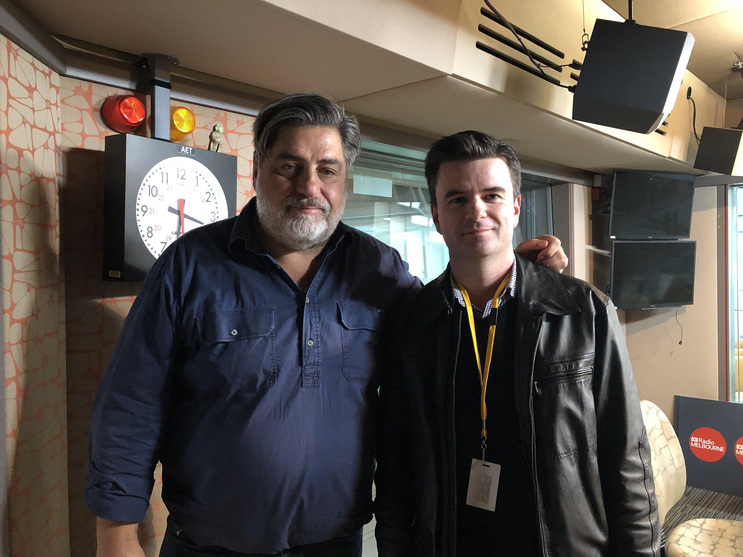 ABC Radio Melbourne presenter with Dr John Ainsworth