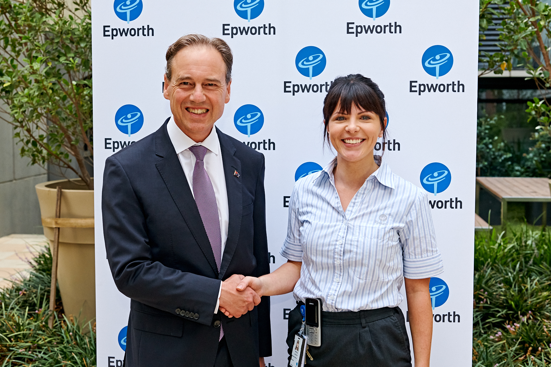 Minister Greg Hunt & Epworth Nurse Unit Manager, Nicola Ashford