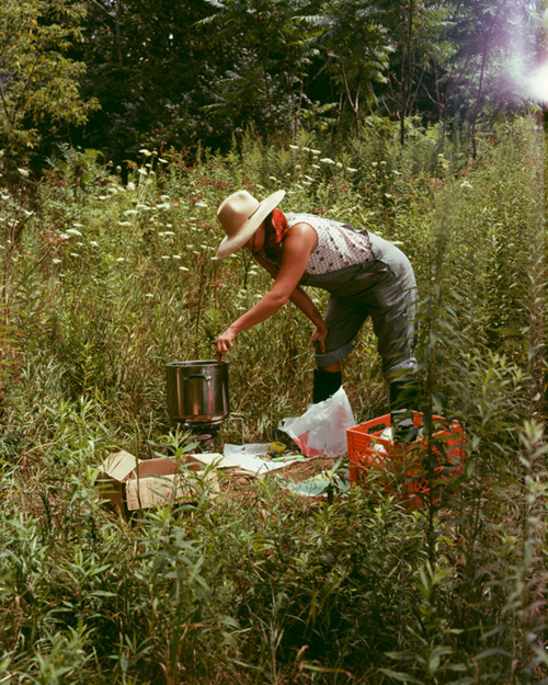 Heidi Norton pouring wax on Cobra Lily Mountain , 2011. Pigment print, 40 x 32 inches.