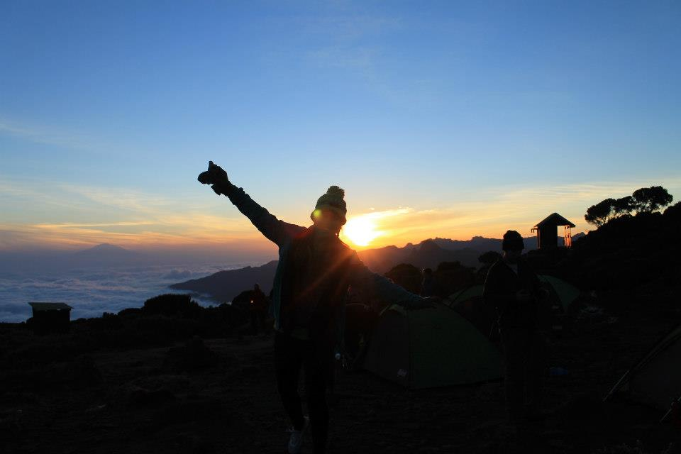 Vilma climbing Mount Kilimanjaro, Tanzania