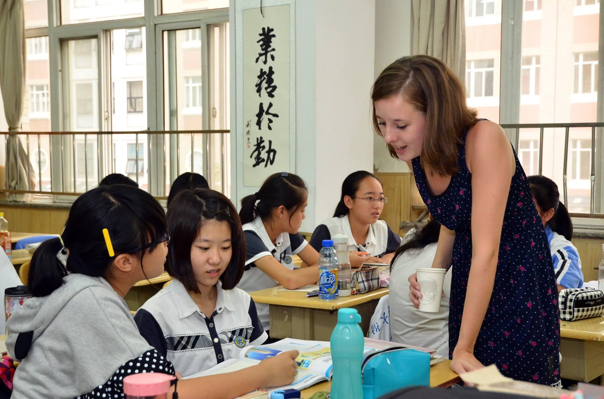 Chloe in action teaching in Tianjin, China.