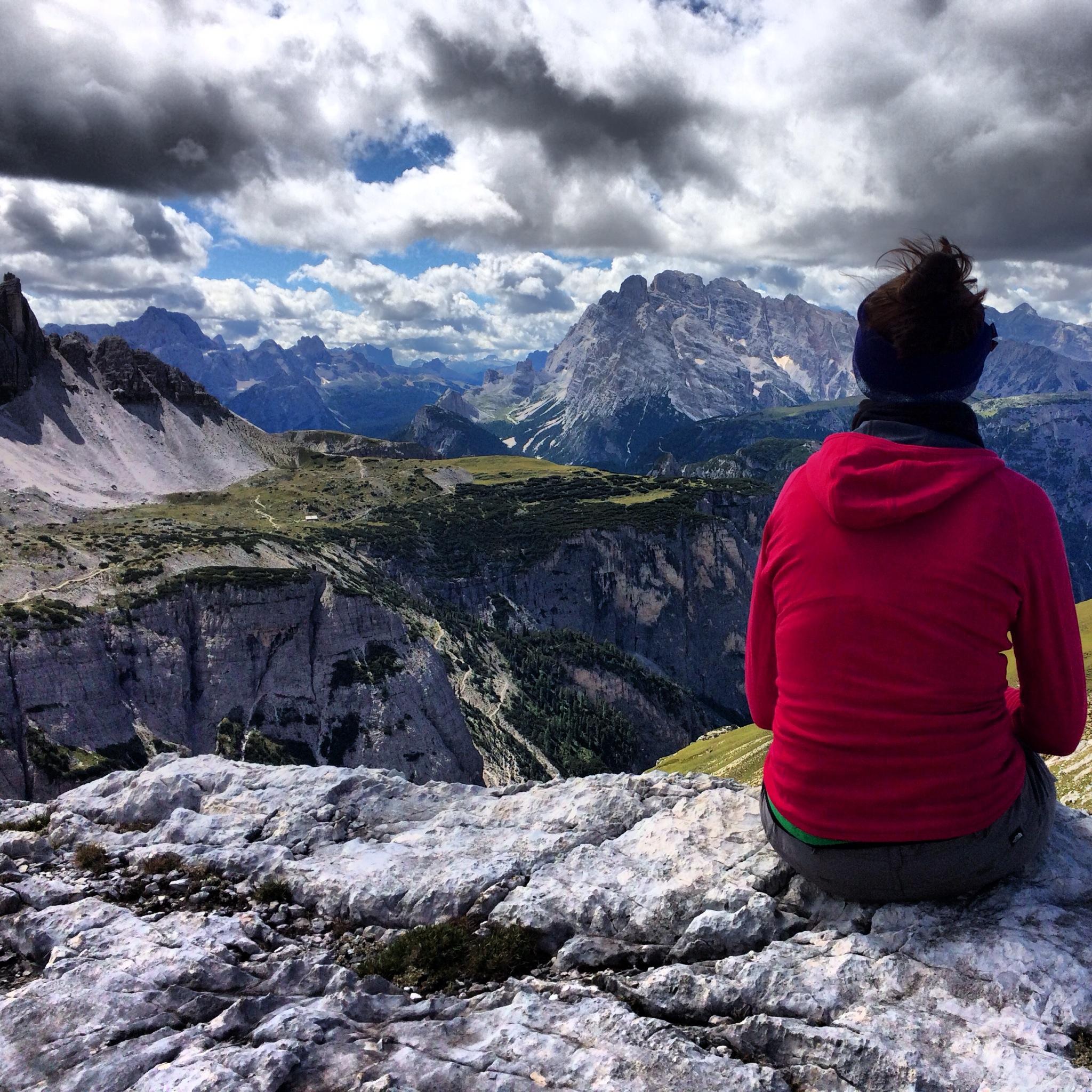 Jo hiking near the Tre Cime di Lavaredo in the Italian Dolomites