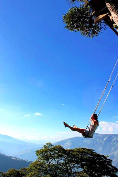 Sarah swinging through life in Banos, Ecuador. And yes, we're in love with the swing.