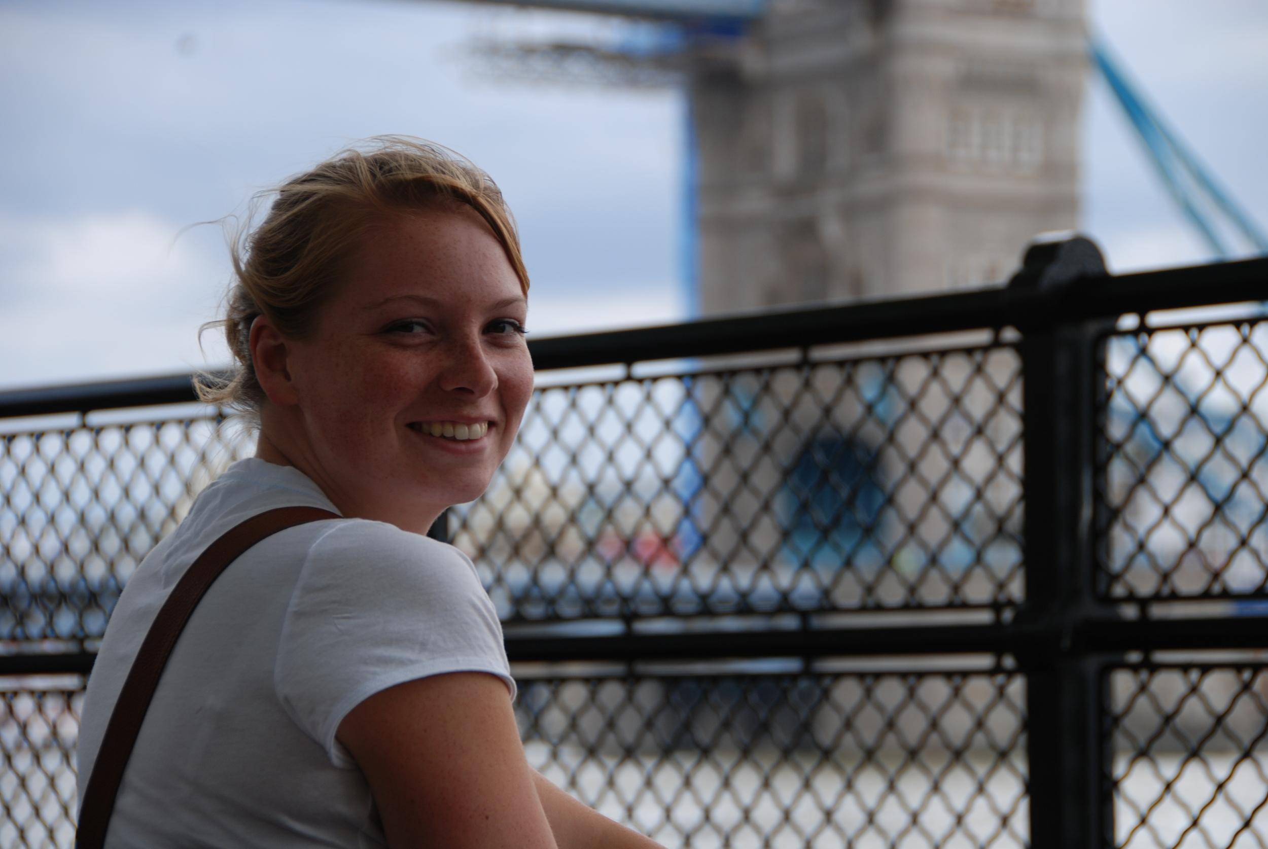 Merlin taking in the view of Tower Bridge, London