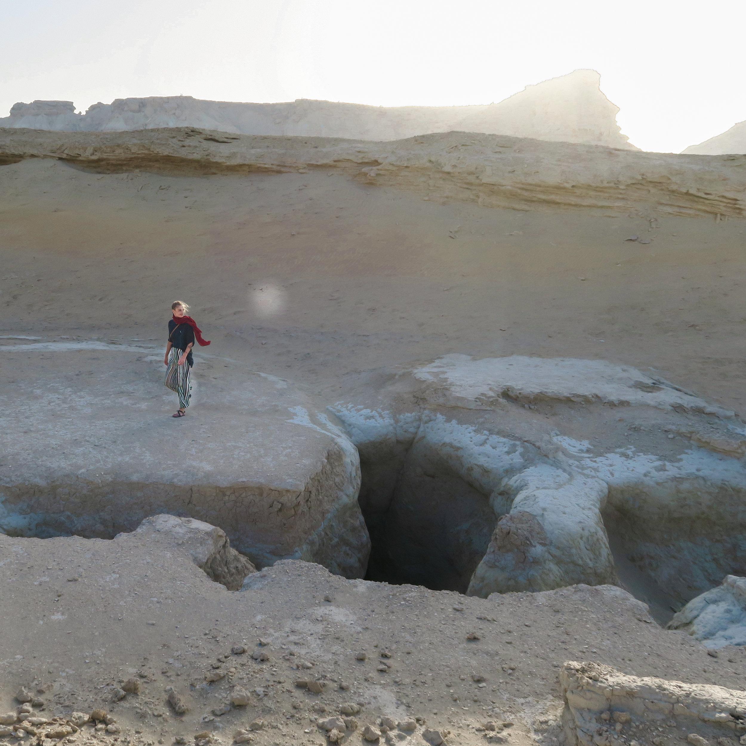 Evelina wandering the Valley of the Stars, Qeshm Island